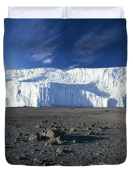 A View Of Mount Kilimanjaros Summit Duvet Cover by David Pluth