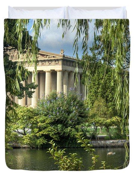 A View Of The Parthenon 5 Duvet Cover by Douglas Barnett