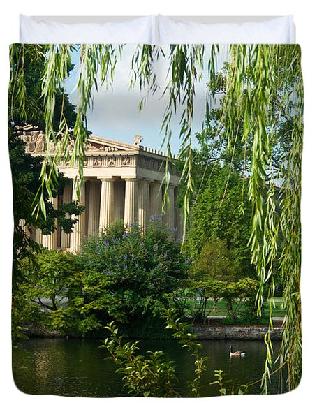 A View Of The Parthenon 9 Duvet Cover by Douglas Barnett