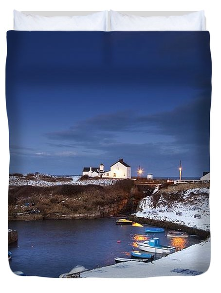 Duvet Cover featuring the photograph A Village On The Coast Seaton Sluice by John Short