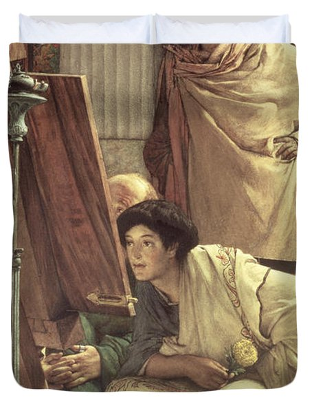A Visit To The Studio Duvet Cover by Sir Lawrence Alma-Tadema