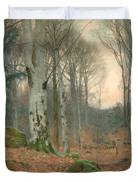 A Welsh Wood In Winter Duvet Cover by JT Watts