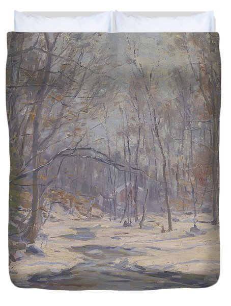 A Winter Morning  Duvet Cover by Frank Townsend Hutchens