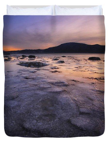 A Winter Sunset At Evenskjer In Troms Duvet Cover by Arild Heitmann
