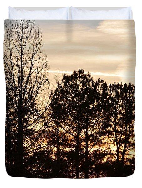 Duvet Cover featuring the photograph A Winter's Eve by Maria Urso