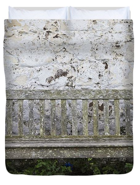 A Wooden Bench With Peeling Paint Duvet Cover by John Short