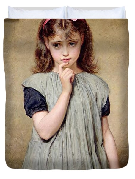 A Young Girl In The Classroom Duvet Cover by Charles Sillem Lidderdale