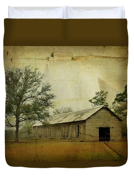 Abandoned Tobacco Barn Duvet Cover by Carla Parris