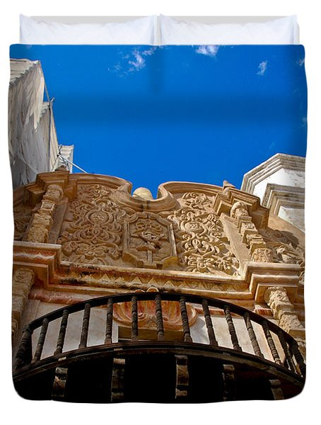 Above The Front Entry San Xavier Mission Duvet Cover by Jon Berghoff