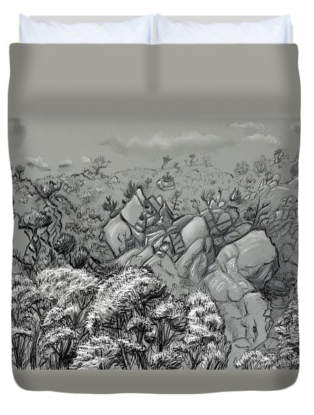 Above The Treetops Field Sketch Duvet Cover by Dawn Senior-Trask