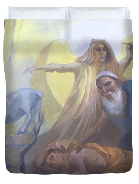 Abraham And Issac Test Of Abraham Duvet Cover