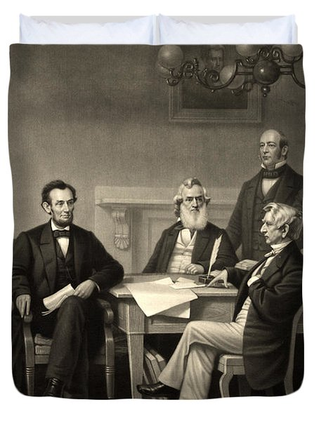 Duvet Cover featuring the photograph Abraham Lincoln At The First Reading Of The Emancipation Proclamation - July 22 1862 by International  Images