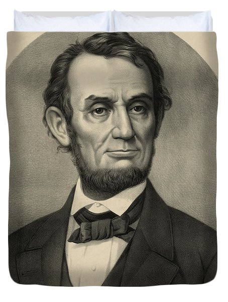Duvet Cover featuring the photograph Abraham Lincoln Portrait by International  Images
