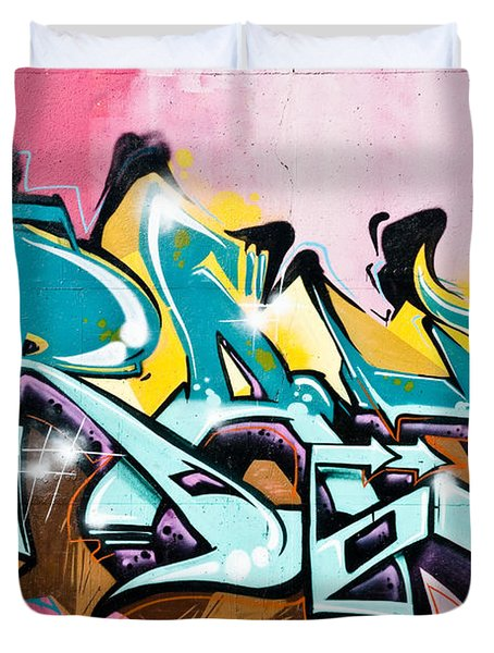 Duvet Cover featuring the painting Absrtact  Graffiti On The  Textured  Wall by Yurix Sardinelly