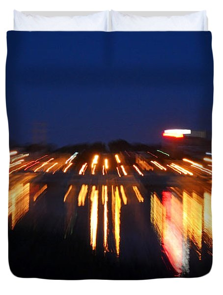 Abstract - City Lights Duvet Cover by Sue Stefanowicz