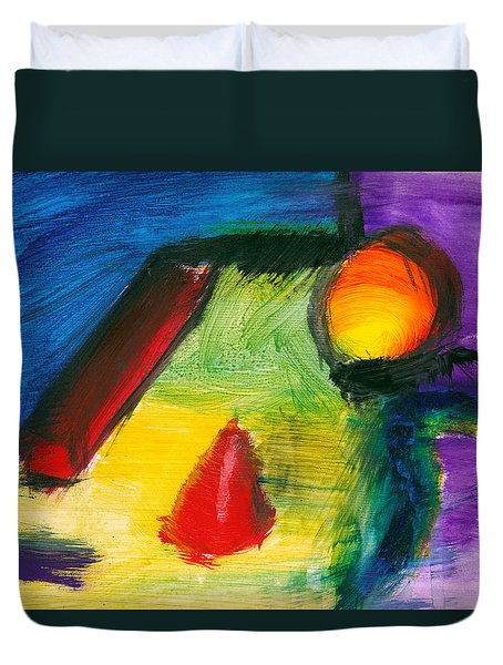 Abstract - Acrylic - Primitives Duvet Cover by Mike Savad