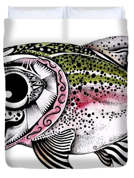 Abstract Alaskan Rainbow Trout Duvet Cover by J Vincent Scarpace