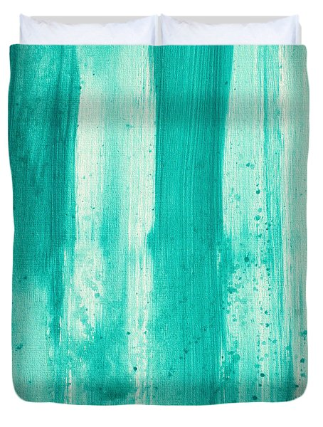 Abstract Art Original Decorative Painting Aqua Passion By Madart Duvet Cover by Megan Duncanson