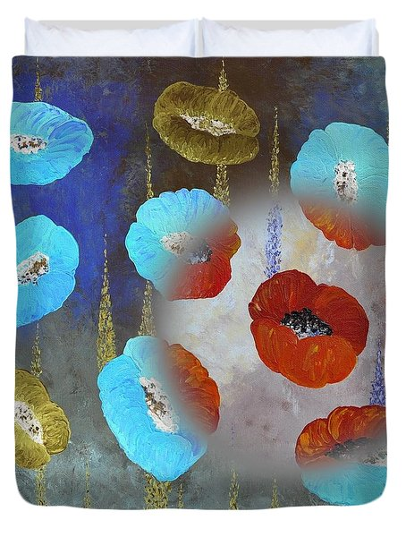 Abstract Colorful Poppies Duvet Cover by Georgeta  Blanaru