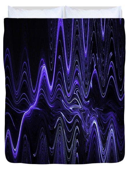 Abstract Digital Blue Waves Fractal Image Black Computer Art Duvet Cover by Keith Webber Jr