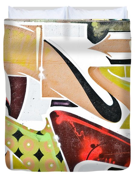 Duvet Cover featuring the painting Abstract Graffiti Art Wall by Yurix Sardinelly