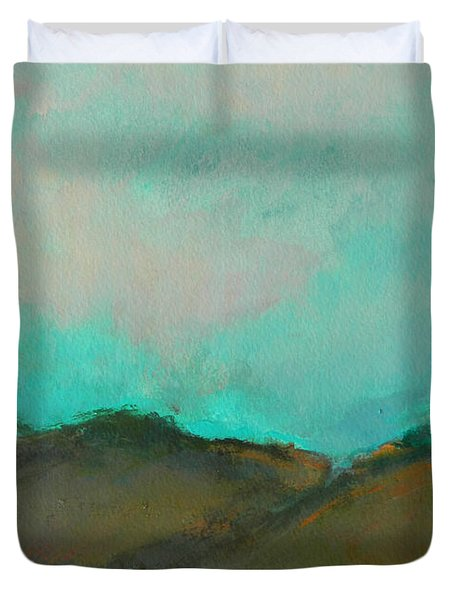 Abstract Landscape - Turquoise Sky Duvet Cover