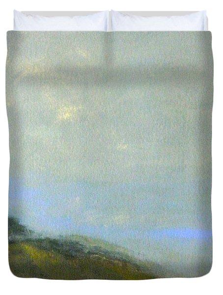 Abstract Landscape - Green Hillside Duvet Cover