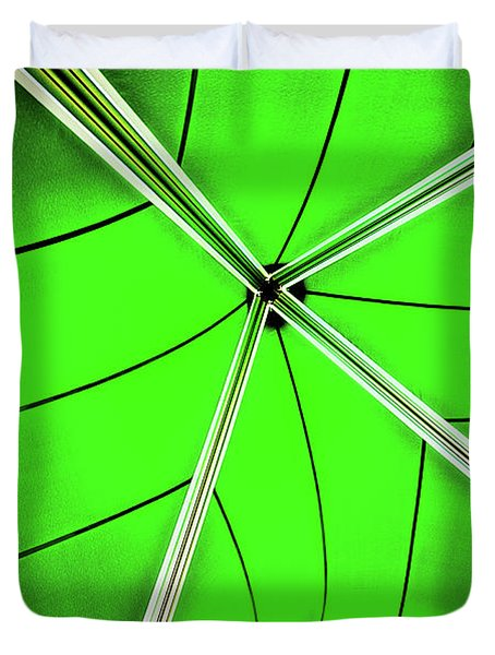Abstract Of Green Duvet Cover by Meirion Matthias