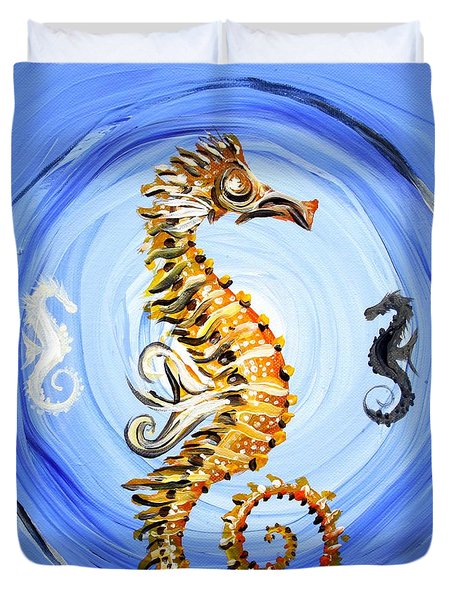 Abstract Sea Horse Duvet Cover by J Vincent Scarpace