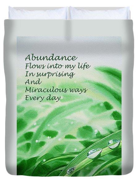 Abundance Affirmation Duvet Cover by Irina Sztukowski