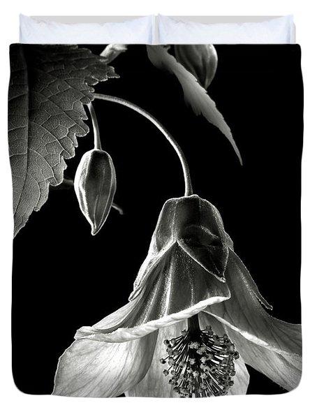 Abutilon In Black And White Duvet Cover