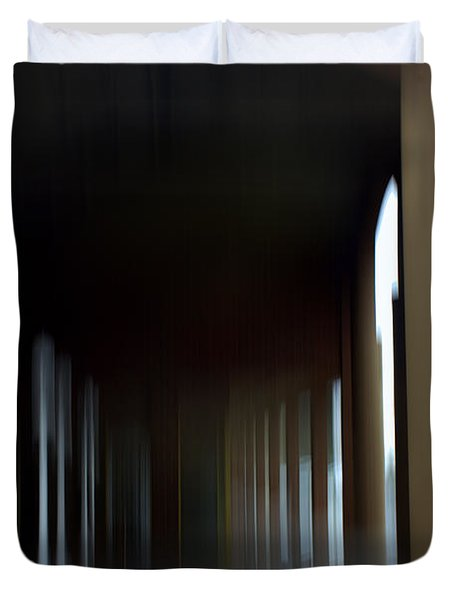 Duvet Cover featuring the mixed media Abyss Looks Back by Terence Morrissey