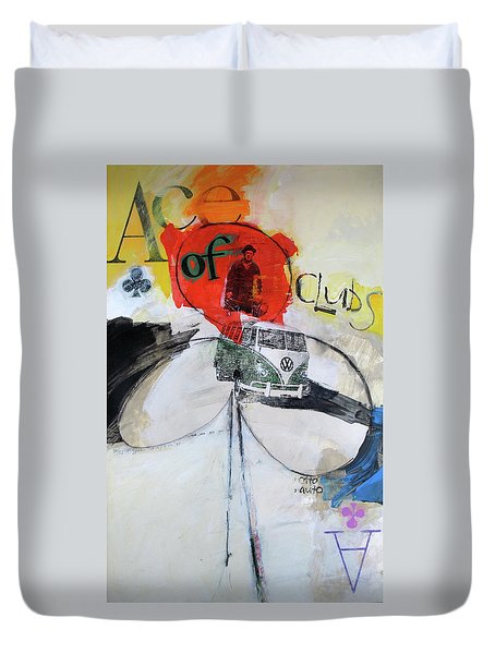 Duvet Cover featuring the painting Ace Of Clubs 36-52 by Cliff Spohn