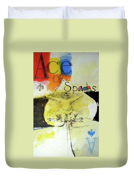 Duvet Cover featuring the mixed media Ace Of Spades 25-52 by Cliff Spohn