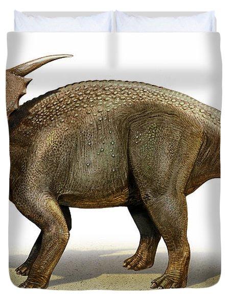 Achelousaurus Horneri, A Prehistoric Duvet Cover by Sergey Krasovskiy
