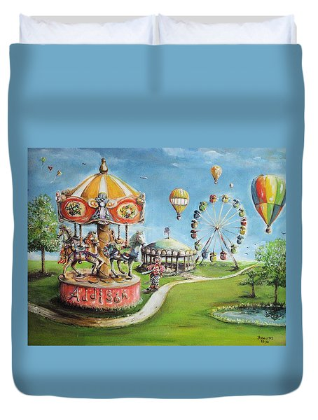 Duvet Cover featuring the painting Carnival by Bernadette Krupa