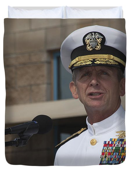 Admiral Eric Olson Speaks Duvet Cover by Michael Wood