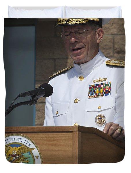 Admiral Mike Mullen Speaks Duvet Cover by Michael Wood