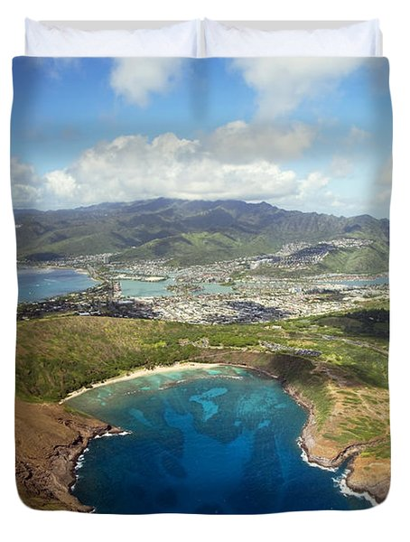 Aerial Of Hanauma Bay Duvet Cover by Ron Dahlquist - Printscapes