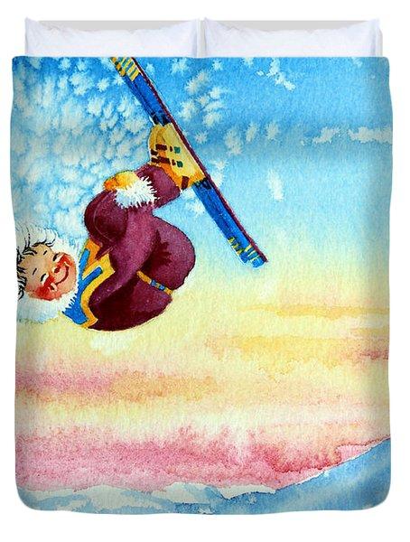 Aerial Skier 13 Duvet Cover by Hanne Lore Koehler