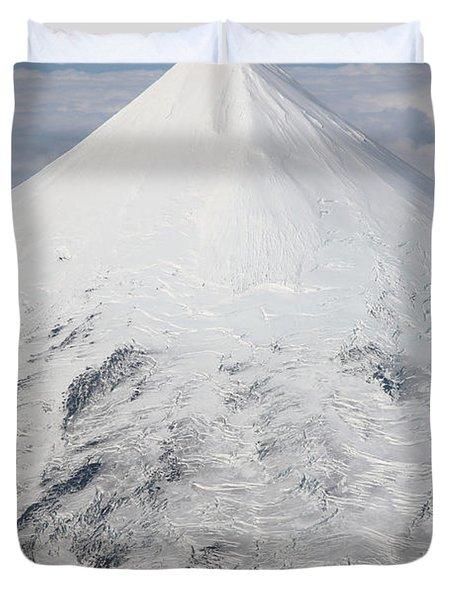 Aerial View Of Glaciated Shishaldin Duvet Cover by Richard Roscoe