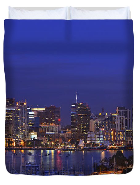 Aerial View Of San Diego Skyline With Duvet Cover by Stuart Westmorland