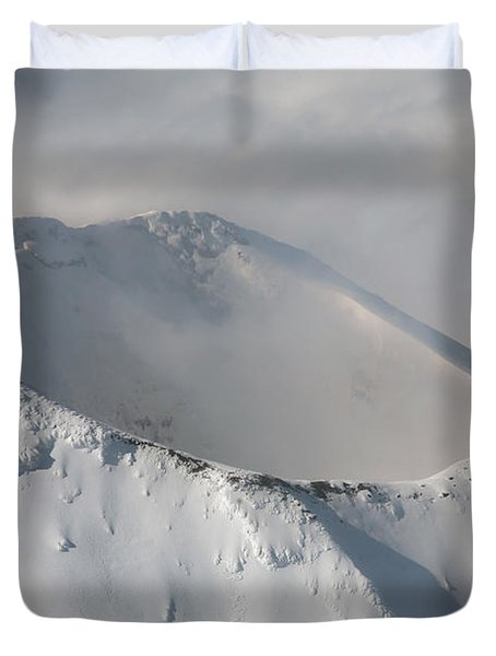 Aerial View Of Summit Of Shishaldin Duvet Cover by Richard Roscoe