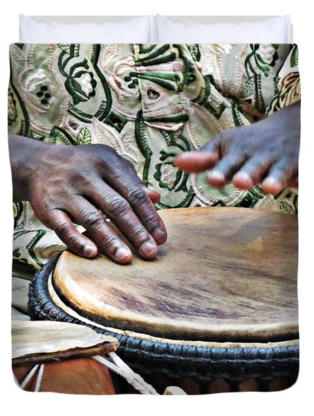 African Drum Rhythm Duvet Cover by Darleen Stry