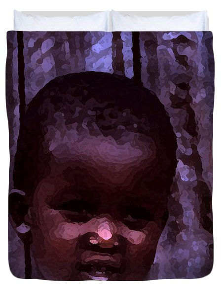 Duvet Cover featuring the pyrography African Little Girl by Lydia Holly