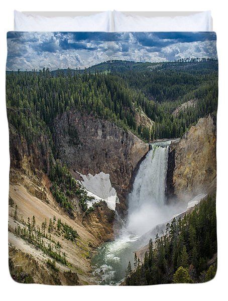 Afternoon At Lower Yellowstone Falls Duvet Cover