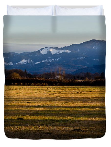 Afternoon Shadows Across A Rogue Valley Farm Duvet Cover by Mick Anderson