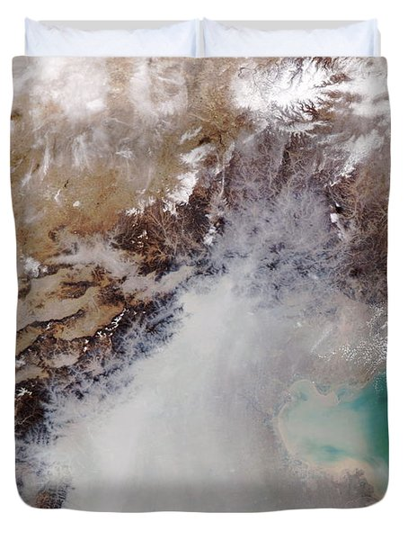 Air Pollution Over China Duvet Cover by NASA / Science Source