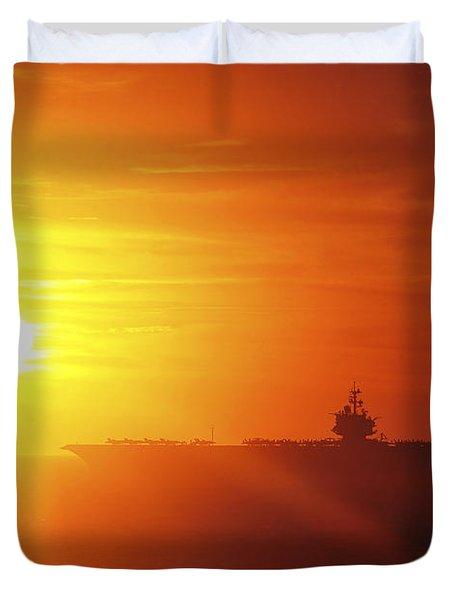 Aircraft Carrier Uss Enterprise Duvet Cover by Stocktrek Images