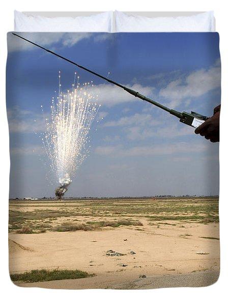 Airmen Conduct A Controlled Detonation Duvet Cover by Stocktrek Images